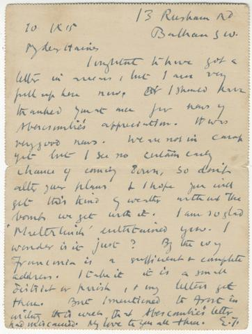 """THOMAS (EDWARD) Autograph letter signed (""""E.T.""""), to Jack Haines (""""My dear Haines""""), thanking him for sending news of Lascelles Abercrombie's appreciation 13 Rusham Road, Balham SW, 10 September 1915"""