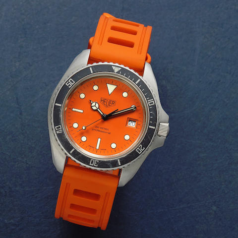 Heuer. A stainless steel automatic diver's wristwatch with unusual orange dial Ref: 980.005, Circa 1980