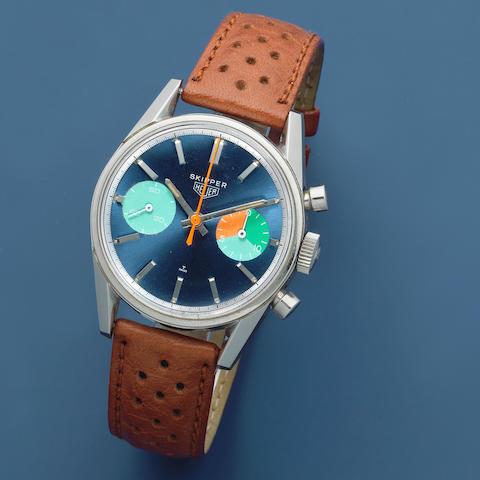 "Heuer. A rare stainless steel manual wind chronograph wristwatch  Skipper ""Skipperera"", Ref: 7753/54, Circa 1970"