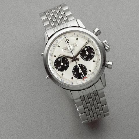 Heuer. A stainless steel manual wind triple calendar chronograph bracelet watch  Carrera Dato, Ref: 2547SN, Circa 1972