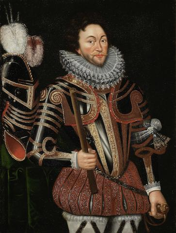 Anglo-Dutch School, late 16th/early 17th Century Portrait of Sir Francis Drake (circa 1540-1596), three-quarter-length, in half-armour, blackened and gilded, ornately decorated with depictions of trophies of arms, holding a baton in his right hand and a rapier in his left, standing beside a plumed helmet on a table draped with a green cloth