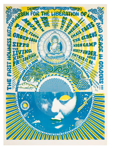 Pink Floyd: A festival poster, 'The First Holiness Kitschgarden For The Liberation Of Love And Peace In Colours!!!' 21st-22nd June 1968,