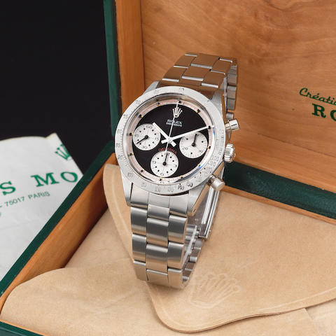 Rolex. An exceptionally rare stainless steel manual wind chronograph bracelet watch with exotic Paul Newman dial Paul Newman Cosmograph Daytona, Ref: 6262/6239, Circa 1970