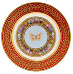 A set of twelve Sèvres plates from the 'Service de dessert marly Rouge' for the Emperor Napoleon, circa 1809