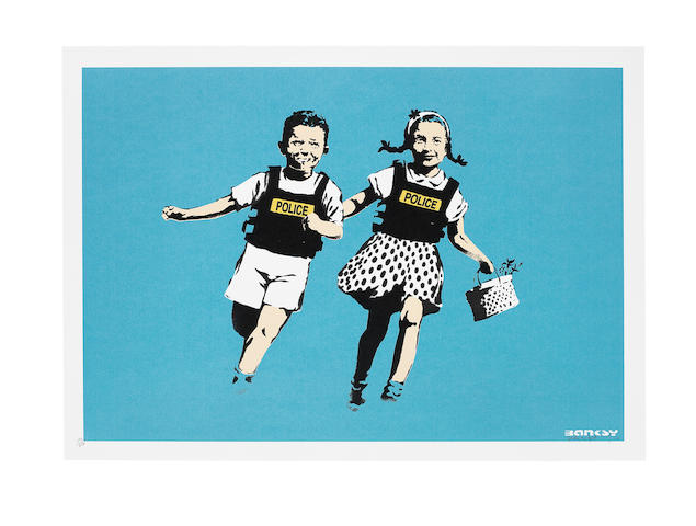 Banksy (British, born 1975) Jack and Jill (Police Kids) Screenprint in colours, 2005, on wove paper, signed, dated and numbered 293/350 in pencil, published by Pictures on Walls, London, with their blindstamp, the full sheet, in very good conditionSheet 500 x 700mm.