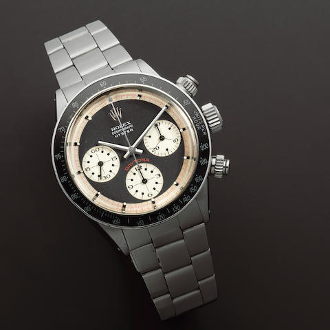 Rolex. An exceptionally rare stainless steel manual wind chronograph bracelet watch with exotic Paul Newman 'Oyster Sotto' dial being sold by the original owner  'Paul Newman' Cosmograph Oyster, Ref: 6263/6239, 1969
