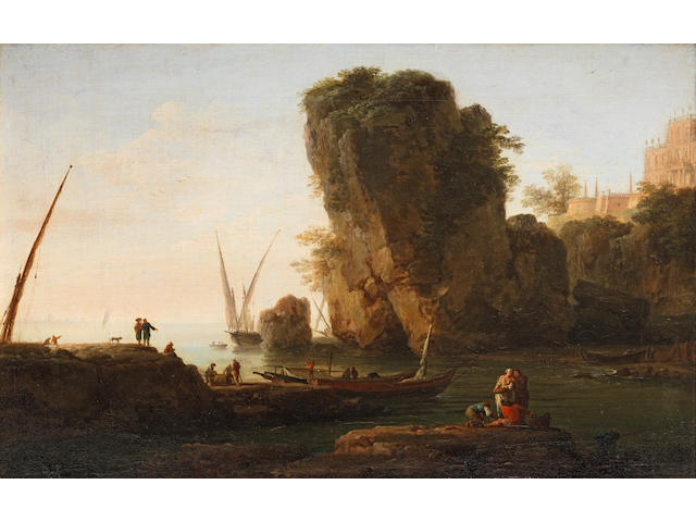 Claude Joseph Vernet (Avignon 1714-1789 Paris) A cove on a rocky Mediterranean coast, with small vessels and fishermen