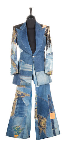 Elton John: A denim jacket and trouser suit by 'Bill Whitten's Workroom 27', 1973-74, 2