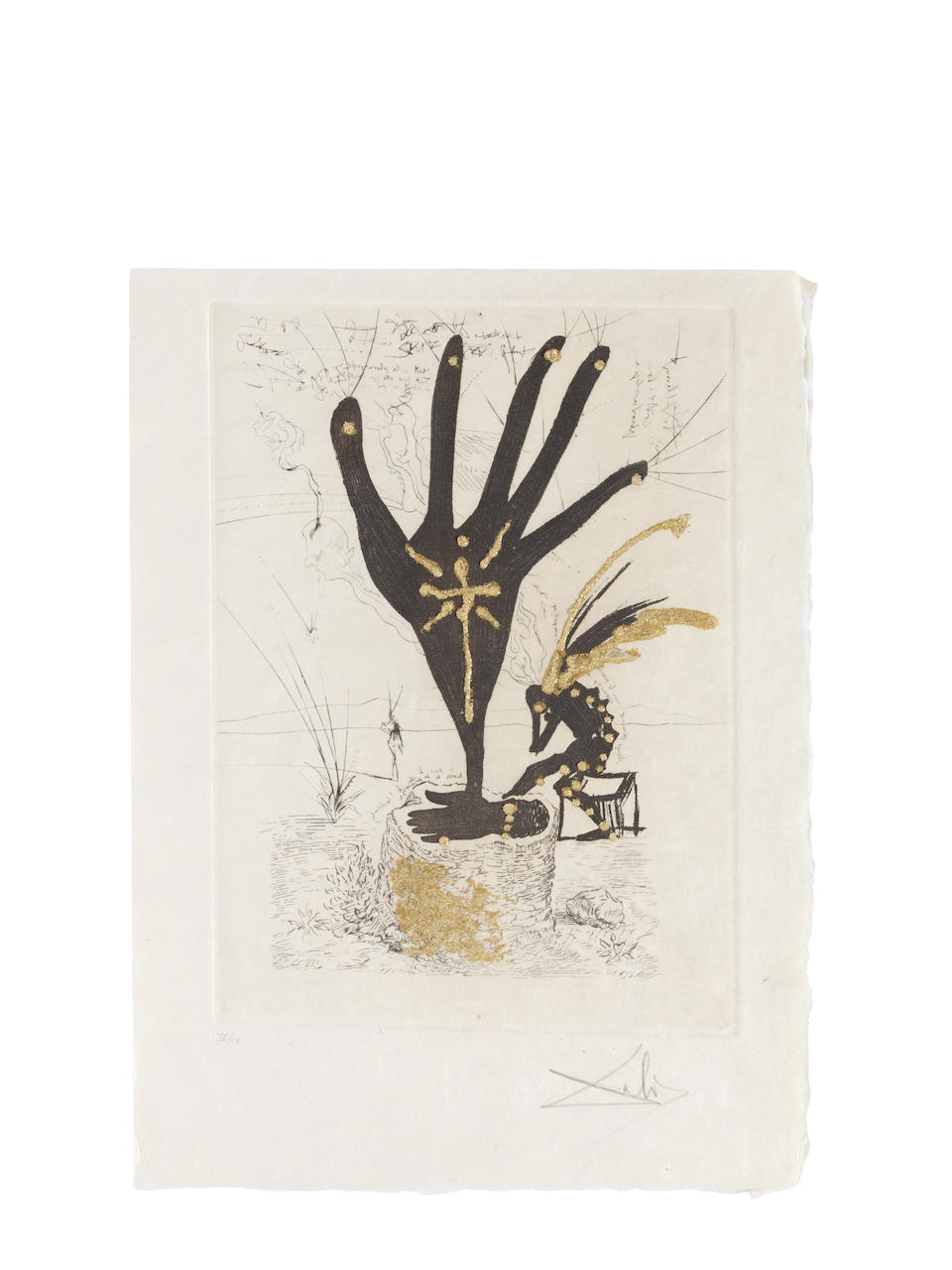 Salvador Dali (Spanish, 1904-1989) Les Amours Jaunes, Éditions Pierre Belfond, Paris, 1974 The complete set of ten drypoint etchings with gilding, hors-texte, on Japon nacré paper, numbered IV on the justification/title page, each drypoint signed and numbered IV/CC in pencil, from the second edition (there were also 300 sets in Arabic numbers on Arches), the full sheets, loose (as issued), without the text, in very good condition, together with a certificate from the publisher, contained in a red linen-covered portfolio with gilt title Plate 300 x 212mm., Sheet 380 x 280mm.  (10)Folio 395 x 300 x 24mm.