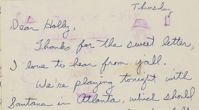 Duane Allman: A two-page letter, March 1970,