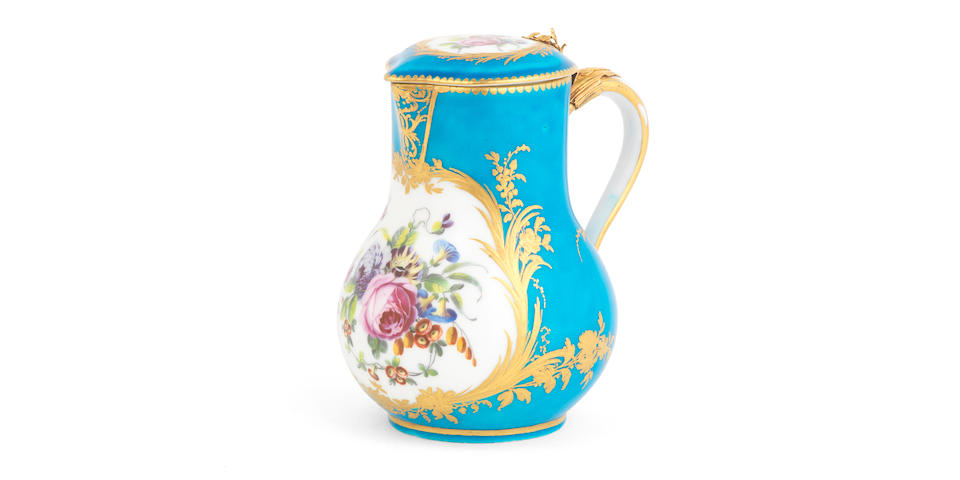 A Sèvres bleu-céleste ground gold-mounted jug and cover, circa 1765