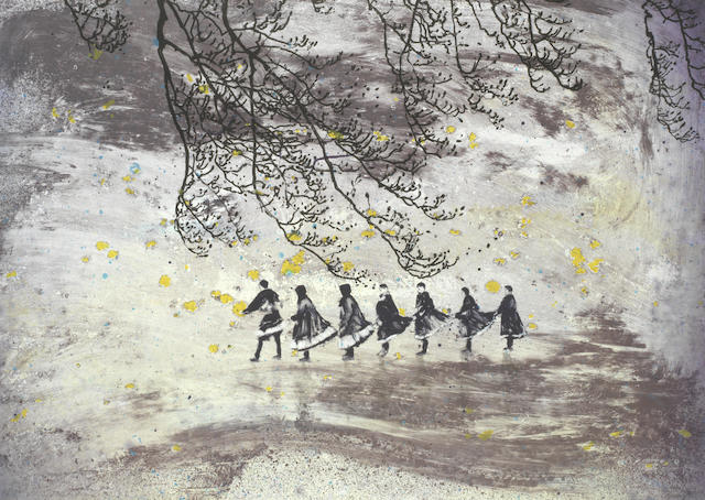 Elizabeth Magill (Irish, born 1959) Skirt Tales, from the 'Parlous Land'  Lithograph printed in colours, 2006, on wove, signed and numbered 14/45 in pencil, published by The Paragon Press, London, the full sheet printed to the edges, 600 x 835mm (23 1/2 x 32 3/4in)(SH)(unframed)