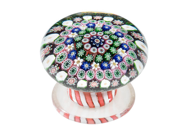 A Clichy concentric millefiori pedestal or piedouche paperweight, circa 1850