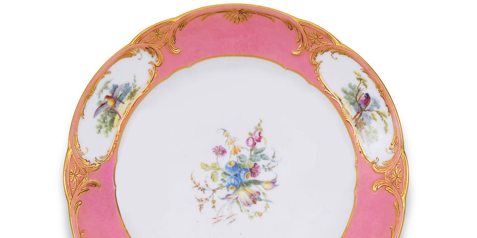 A rare Sèvres pink-ground plate from the duc de Richelieu service, circa 1758