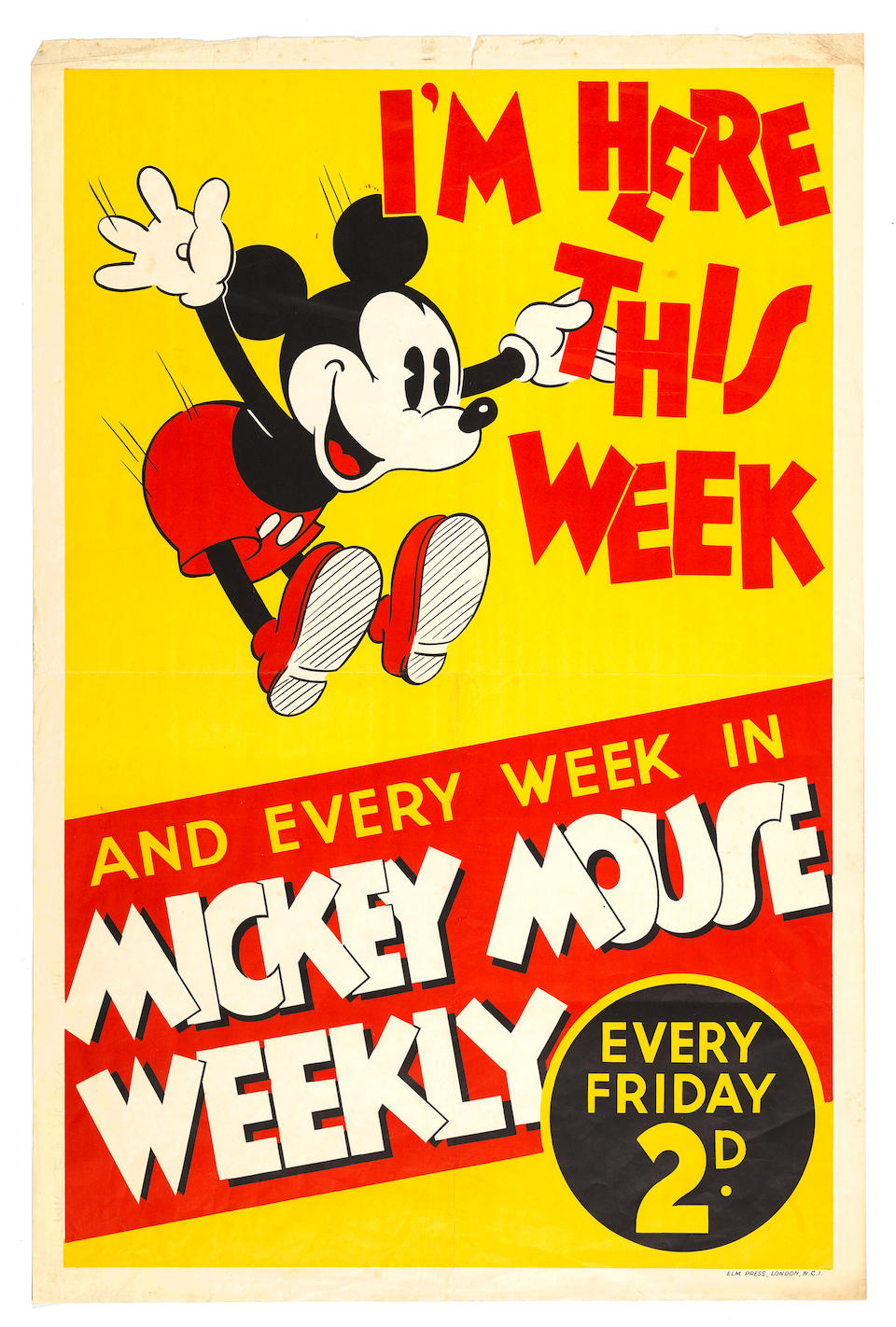 Walt Disney: Three early posters for Mickey Mouse and Donald Duck, circa 1930s-40s, 3