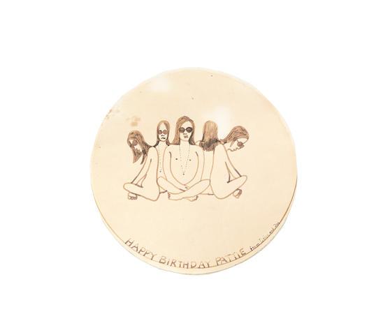 John Lennon: A rare and original hand-drawn birthday card to Pattie Boyd from John and Cynthia Lennon, 1968,