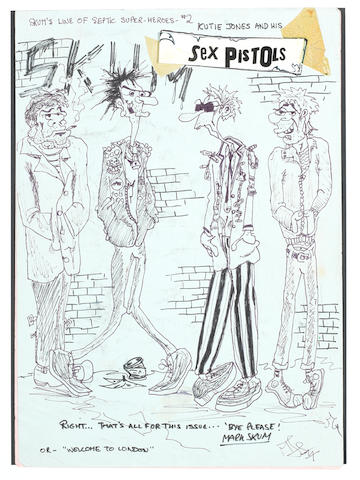 Sex Pistols: Mark Jay's cartoon artwork of the Sex Pistols, 1977,