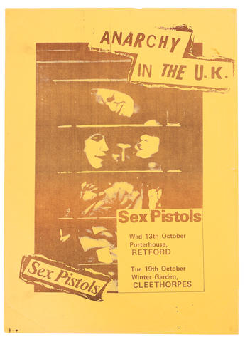 Sex Pistols: A poster for two (unplayed) 'Anarchy In The UK' tour dates, 1976,