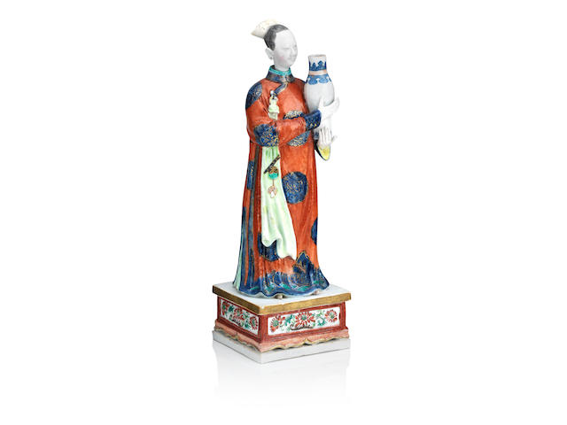 A famille rose nodding-head figure of a courtly lady Qianlong Period