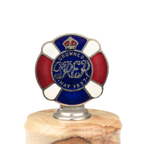 A rare King George VI Coronation enamel car badge, 1937,   ((2))