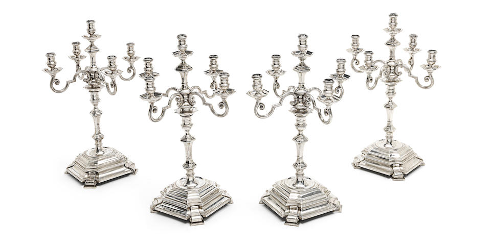 A set of four five-light silver candelabra from the Painted Hall at Greenwich by Goldsmiths & Silversmiths Co Ltd, London 1938  (4)