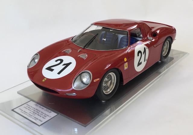 A fine 1:8 scale scratchbuilt model of the 1965 Ferrari 250 LM by Javan Smith,