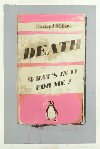 Harland Miller (British, born 1964) Death, What's in it for Me?  Screenprint in colours with extensive hand-colouring in oil and acrylic, 2014, on Somerset, signed, dated and inscribed 'The Bubble Gum Pink is infact M.H. series 142' and 'Beauty! We should do this right?' and further variously annotated in pencil, one of ten unique artist's proofs, the full sheet, 957 x 660mm (37 5/8 x 25 7/8 in)(SH)