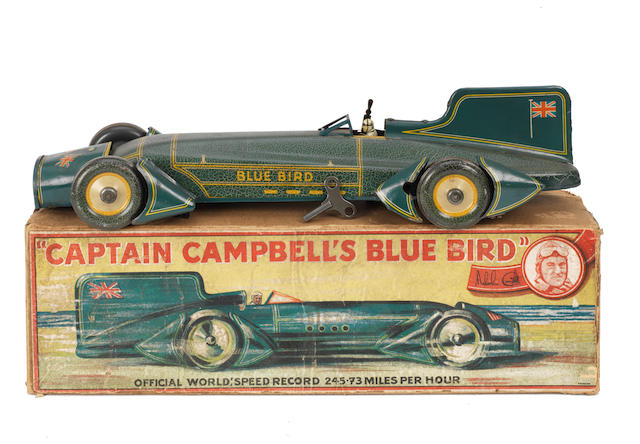 A rare boxed tin-plate clockwork toy of Captain Malcolm Campbell's 'Blue Bird' Land Speed Record car by Gunthermann, circa 1931,