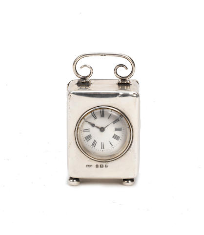 A silver cased carriage clock with engraved dedication to H. Vincent Hermon and Brooklands, Hallmarked Birmingham 1906,