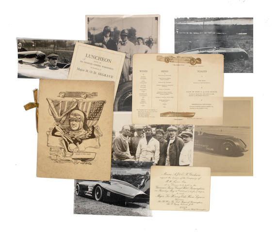 A collection of H. O. D. Segrave printed ephemera, photographs, photographic postcards and a Segrave trophy booklet  ((Qty))