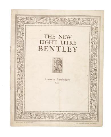 A 'New Eight Litre Bentley' Advanced Particulars 1931 brochure,