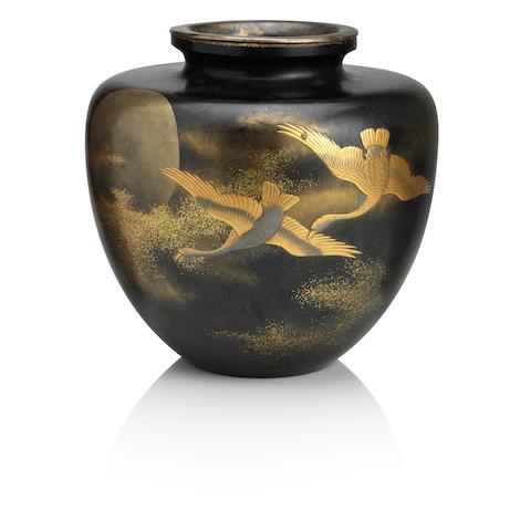 A large black lacquered vase  By Zohiko Company, Meiji era