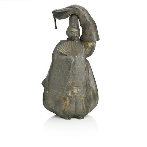 A bronze figure of a Noh dancer  By Katsura Mitsuharu, Meiji era, circa 1900