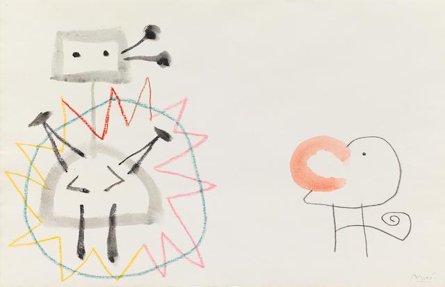 Joan Miró (1893-1983) Sans titre. Projet pour 'Ubu Roi' (Executed circa 1953)