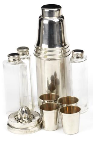 A travelling cocktail set for four persons,
