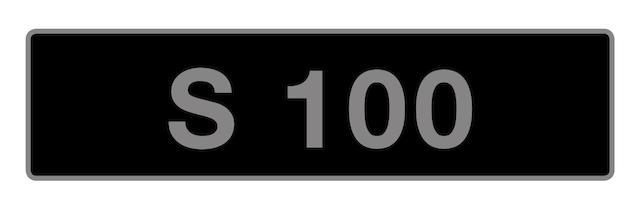 UK Vehicle registration number 'S 100',