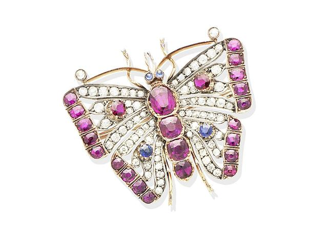 A ruby, sapphire and diamond butterfly brooch, circa 1890