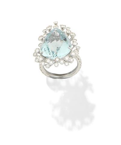 An aquamarine and diamond ring, by Margherita Burgener
