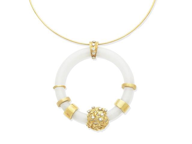 A jade and diamond necklace, circa 1970