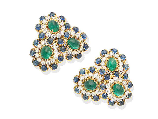 A pair of emerald, sapphire and diamond earclips
