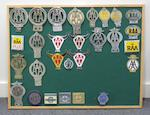 Three framed displays of Royal Automobile Club and Automobile Association car badges for Australia and New Zealand,   ((3))