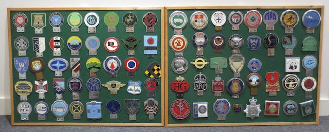 Two framed displays of British club car badges,   ((2))