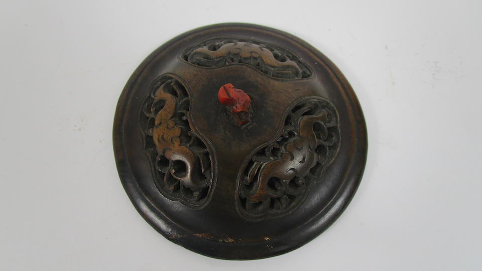 A silver-inlaid bronze incense burner with wooden cover and stand Bearing Shisou mark (3)