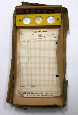 "A Les Leston ""G.P."" Lap Chart board mounted with three watches, circa 1960,"