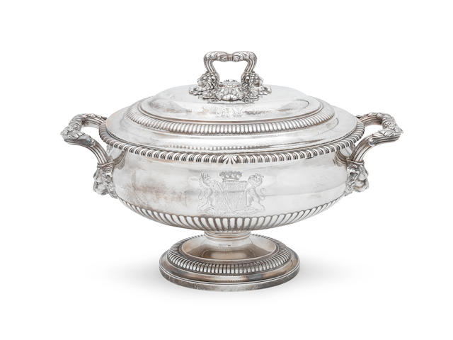 A George IV silver soup tureen by Philip Rundell, London 1821