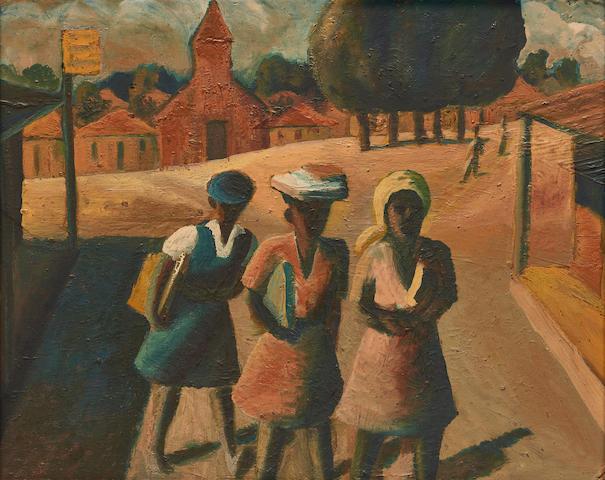Gerard Sekoto (South African, 1913-1993) Three school girls