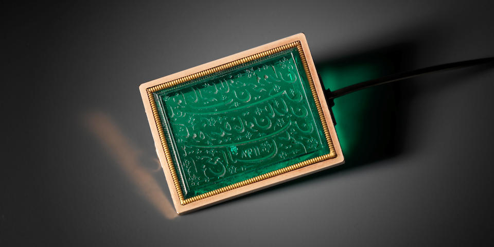 An Important Mughal emerald seal made for and bearing the name of Marian Hastings, wife of Warren Hastings, Governor General of India 1773-1785 North India, dated AH 1198/ AD 1783-4