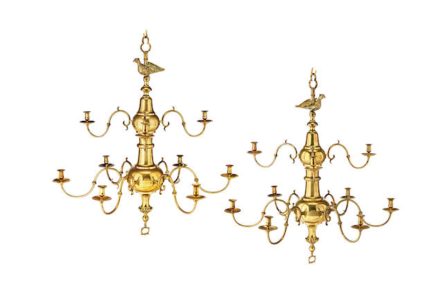 An impressive and large pair of early to mid-19th century brass chandeliers, English, circa 1830