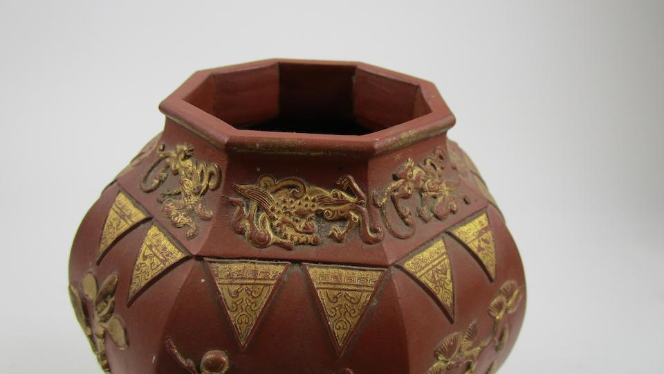 A pair of Yixing octagonal vases Circa 1700