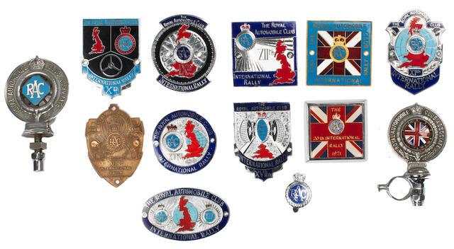 Ten RAC International Rally plaques,   ((12))